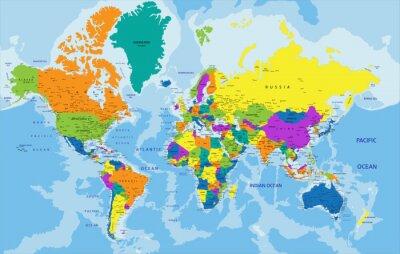 Cuadro Colorido mapa político del mundo con claramente etiquetados, capas separadas. Ilustración del vector.