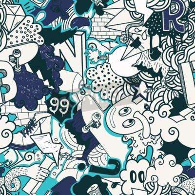 Cuadro Colorido patrón transparente. Graffiti doodles street art ilustración en colores azules. Composición elementos y personajes extravagantes para skateboard, ropa de calle, streetwear, papeles pintados t