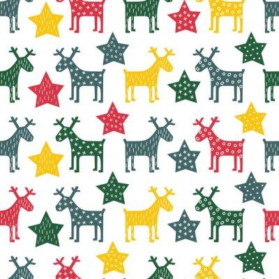 Cuadro Colorido retro sin patrón de Navidad - Navidad de renos y de noche las estrellas. Fondo feliz año nuevo. Diseño del vector para las vacaciones de invierno en el fondo blanco.