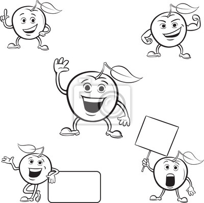 Coloring book manzanas de dibujos animados pinturas para la pared ...