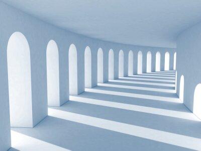 Cuadro Columnata azul con sombras profundas. Ilustración