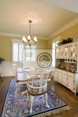 Comedor de lujo con muebles y placas de color blanco pinturas para ...