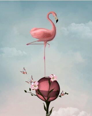 Cuadro Composición surrealista con flamenco y flores