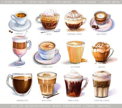 Cuadro Con diferentes bebidas de café para el menú de cafetería o cafetería. Ilustración de espresso fuerte, café con leche suave, dulce macchiato y capuchino, café vienés y helado con helado.