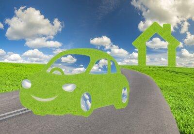 Concepto de energía alternativa coche ecológico, ecológica casa ecológica