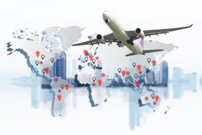 Cuadro Concepto de transporte, importación y exportación y logística, camión contenedor, embarcación en puerto y avión de carga de carga en transporte e importación y exportación comercial logístico, industr