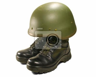 Concepto visual soldado. botas y casco militar. pinturas para la ... cbe3e98ca4b