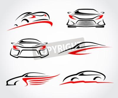 Cuadro Conjunto abstracto de coches. Vector