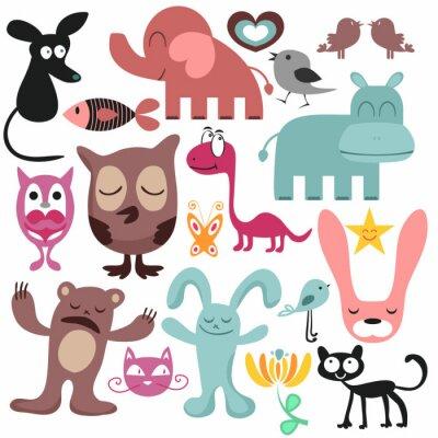 Cuadro Conjunto aleatorio de diferentes animales divertidos