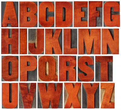 Cuadro Conjunto de alfabeto en el tipo de madera de tipografía