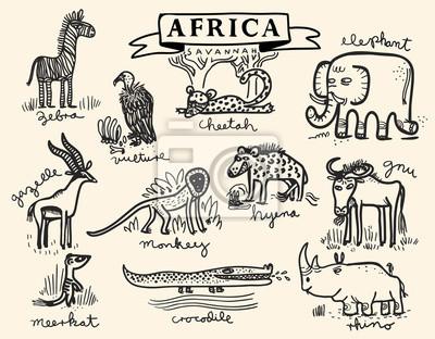 Conjunto de animales de la sabana africana pinturas para la pared ...