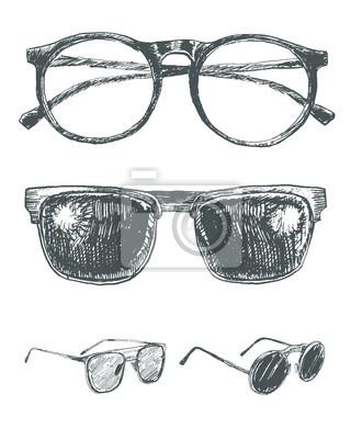 5938fa1021 Cuadro Conjunto de anteojos y gafas de sol. Colección a mano de los  elementos de
