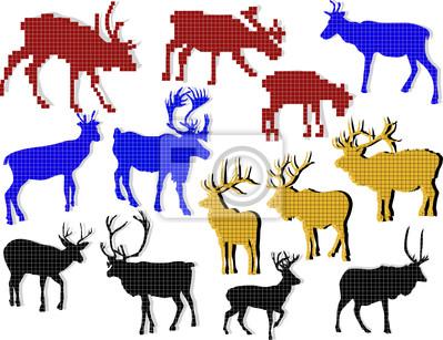 conjunto de ciervos abstractas de cuadrados aislados en blanco