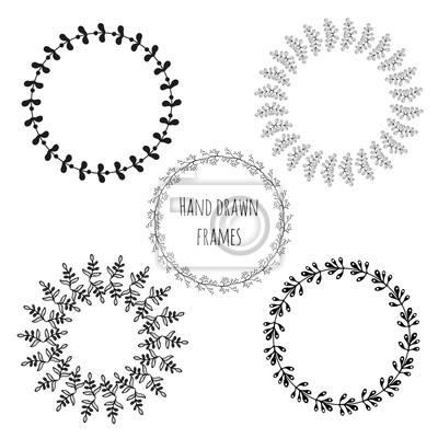 Cuadro Conjunto De Círculo Dibujado A Mano Marcos Aislados Las Hojas