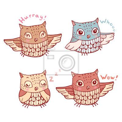 Conjunto De Cuatro Lindos Búhos De Dibujos Animados Con Diversas