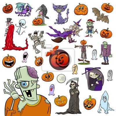 Conjunto de dibujos animados de halloween pinturas para la pared ...