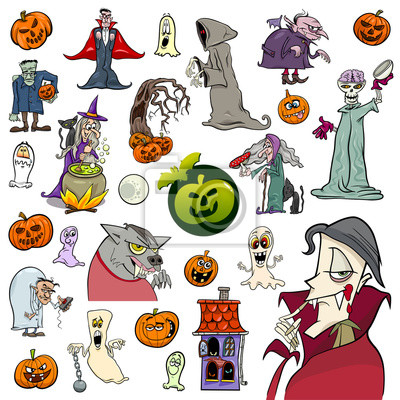 Conjunto de dibujos animados vacaciones de halloween pinturas para ...