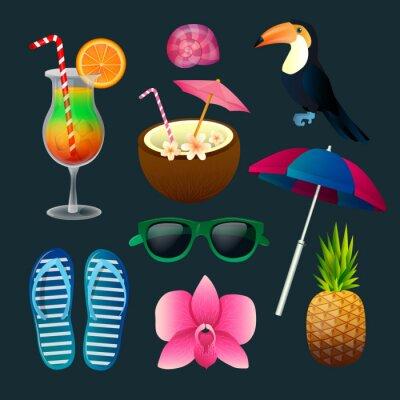 Cuadro Conjunto de elementos tropicales: cócteles, flores, gafas de sol, aves, piña