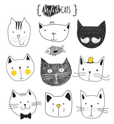 Cuadro Conjunto de gatos lindo doodle. Gato del bosquejo. Bosquejo Del Gato. Gato hecho a mano. Imprimir Camisetas para el gato. Impresión para la ropa. Niños Doodle animales. Gatos con estilo del hocico. Ga