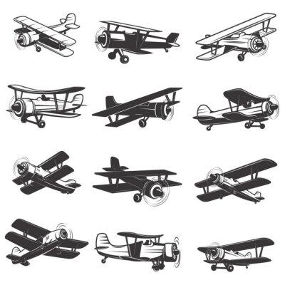 Cuadro Conjunto de iconos de aviones antiguos. Ilustraciones de los aviones. Elemento de diseño para logotipo, etiqueta, emblema, signo. Ilustración del vector.