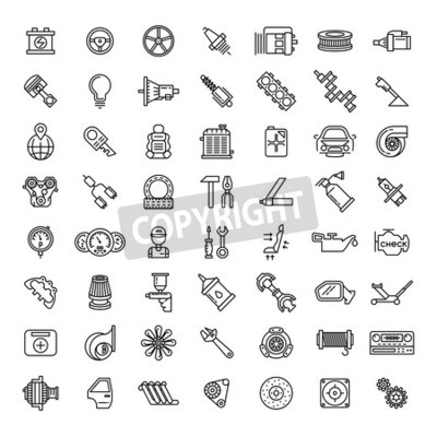 Cuadro Conjunto de iconos de línea de autopartes. Símbolo de reparación de servicio automático, motor de engranaje, llave y filtro, ilustración vectorial