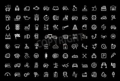 Cuadro conjunto de iconos de vector negro auto