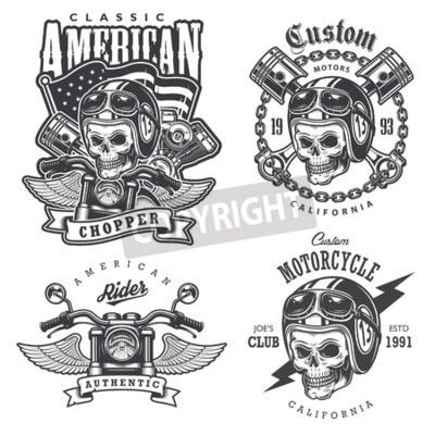 Cuadro Conjunto de impresiones de la motocicleta de la camiseta de la vendimia, emblemas, etiquetas, insignias y logotipos. Estilo monocromo. Aislados en fondo blanco