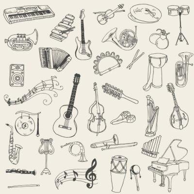 Cuadro Conjunto de Instrumentos Musicales - dibujado a mano en el vector