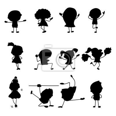 Conjunto De La Mano De Dibujo De Dibujos Animados Feliz De La