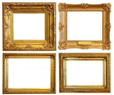 Conjunto de marcos dorados de lujo pinturas para la pared • cuadros ...