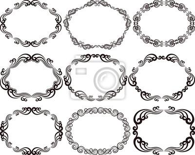Conjunto de marcos ovalados pinturas para la pared • cuadros rosetón ...