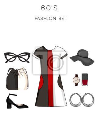 Conjunto de moda de ropa y complementos para mujer traje