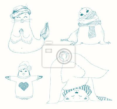 Cuadro Conjunto de niños de animales de yoga 1b8583f72fc0