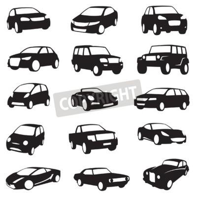 Cuadro Conjunto de quince siluetas de coches negro