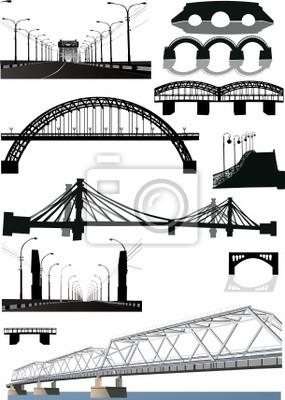Cuadro conjunto de siluetas del puente