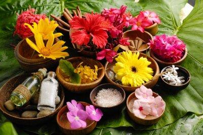 Cuadro Conjunto de Spa de flores tropicales