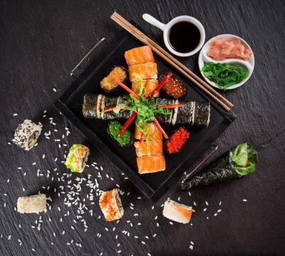 Cuadro Conjunto de sushi japonés marisco