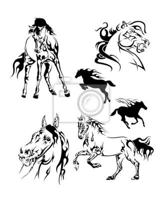 Conjunto De Tatuajes En Blanco Y Negro Con La Forma De Un Caballo