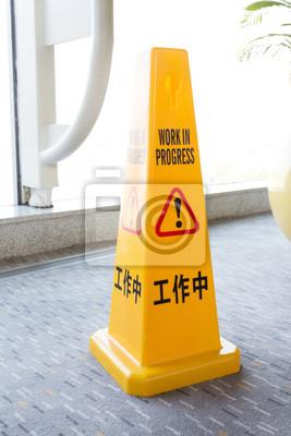 Cuadro Cono amarillo, el trabajo en los signos de progreso.