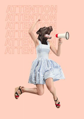 Cuadro Contemporary art collage or portrait of surprised dog headed woman. Modern style pop zine culture concept. Woman screaming with a megaphone. Business processes, message, speaker, communication