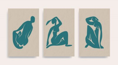 Cuadro Contemporary Henri Matisse abstract vector poster. Woman nude figure sitting silhouette line art Matisse painting. Pastel reproduction of painting. Geometric shape collage.