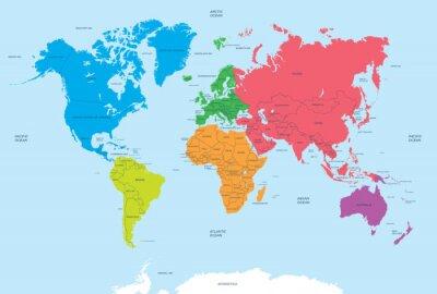 Cuadro Continentes del Mundo y Mapa político