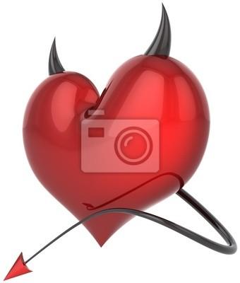 Corazón de color rojo brillante de color Diablo con cuernos negros y una cola