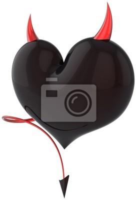 Corazón de Diablo amor de color negro con cuernos rojos y una cola de escorpión