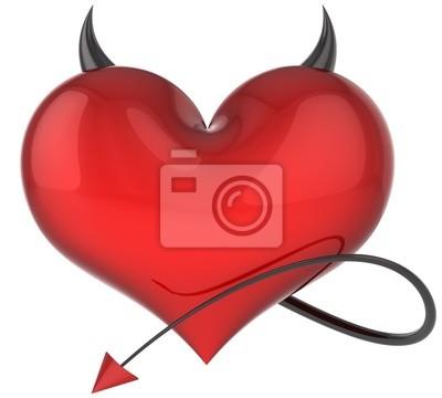 Corazón de Diablo amor de color rojo con cuernos afilados negros y una cola