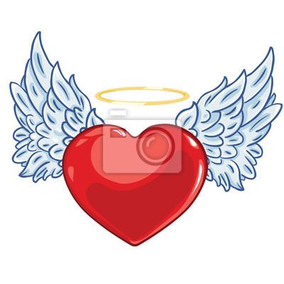 Corazón De Vectores De Dibujos Animados Con Alas De ángel Y Un