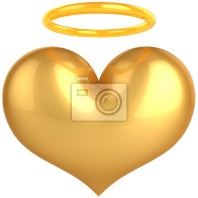 Corazón del ángel del amor símbolo de oro. En amor confiamos!