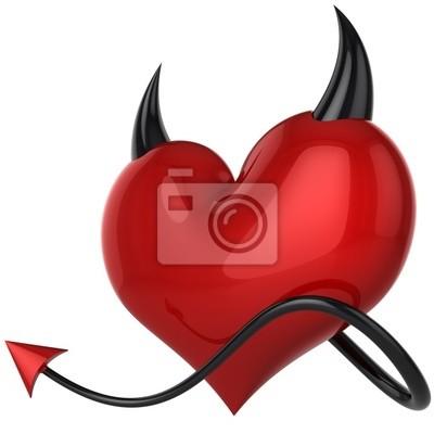 Corazón Diablo. Amor fatídico. Concepto amante. 3D (alta resolución)