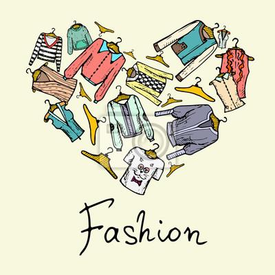 052a385751 Corazón estilizado con ropa de moda para las mujeres pinturas para ...