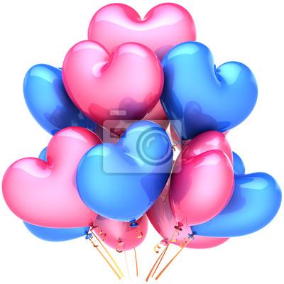 Corazón globos cumpleaños decoración amor multicolor, azul, rosa
